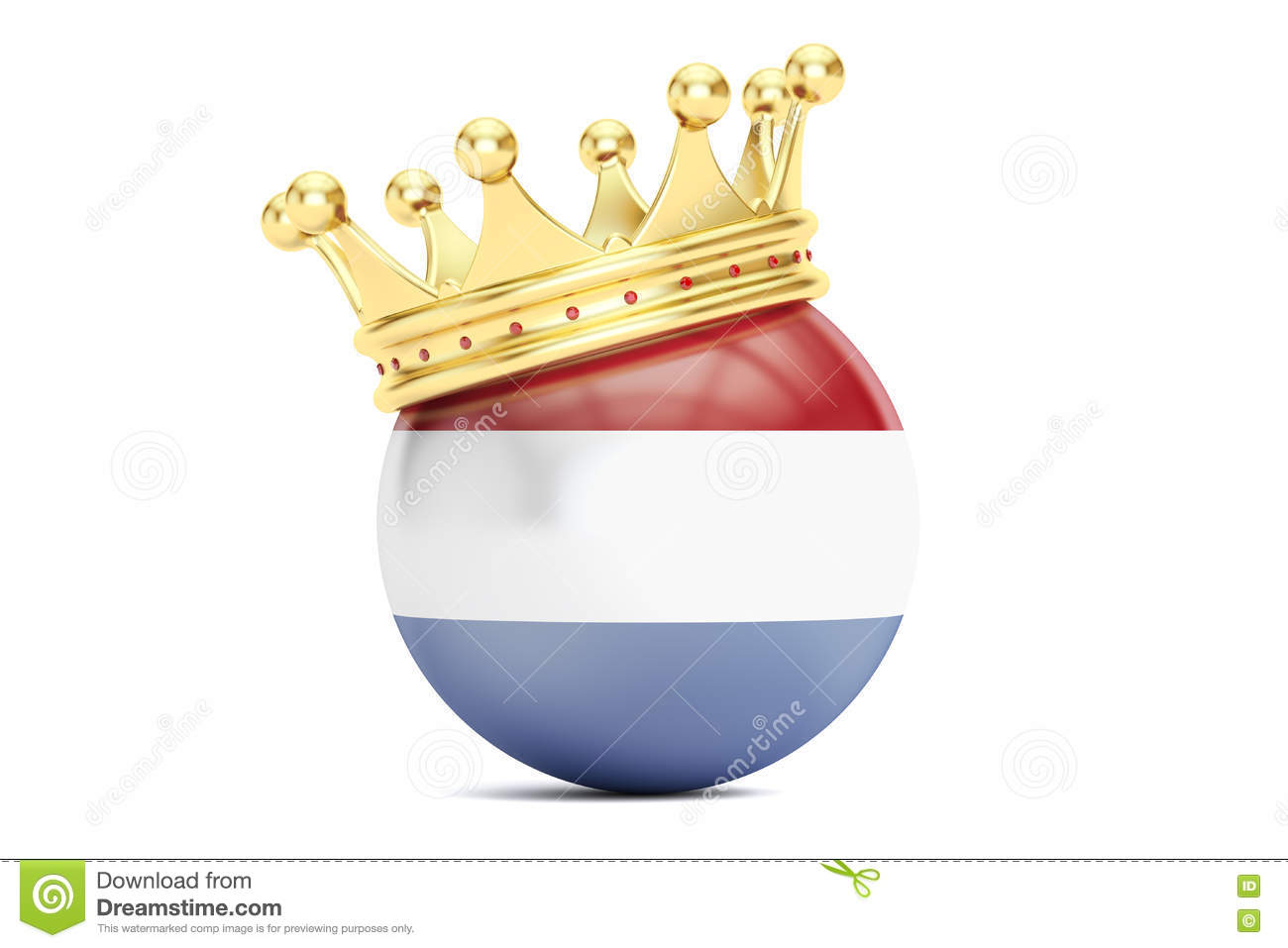 Crown With Flag Of Kingdom Of The Netherlands, 3D Rendering Stock.