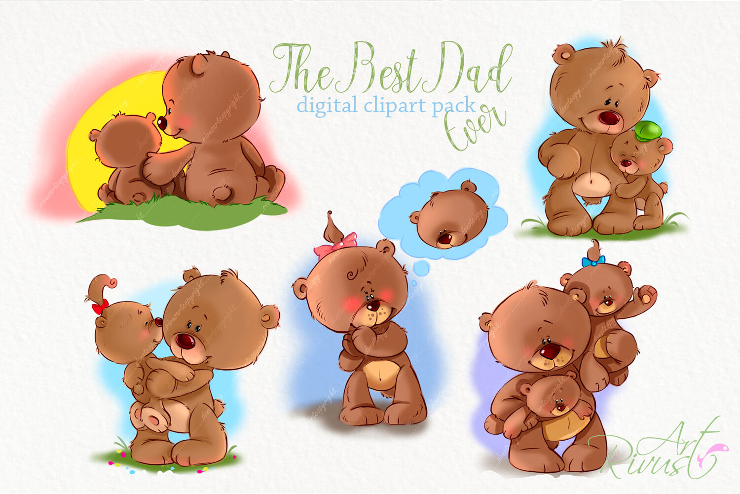 Father\'s day clip art Teddy bear Dad and son By Rivus Art.
