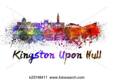 Clipart of Kingston Upon Hull skyline in watercolor k23748411.
