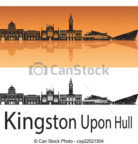Vector Clipart of Kingston Upon Hul skyline in orange background.