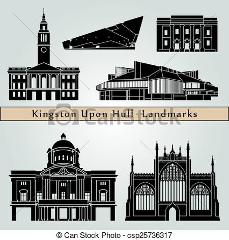 Vector Clip Art of Kingston Upon Hull landmarks and monuments.