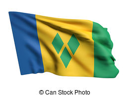 Flag of saint vincent and the grenadines kingstown Illustrations.