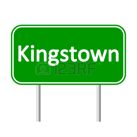 Kingstown Road Sign Isolated On White Background. Royalty Free.