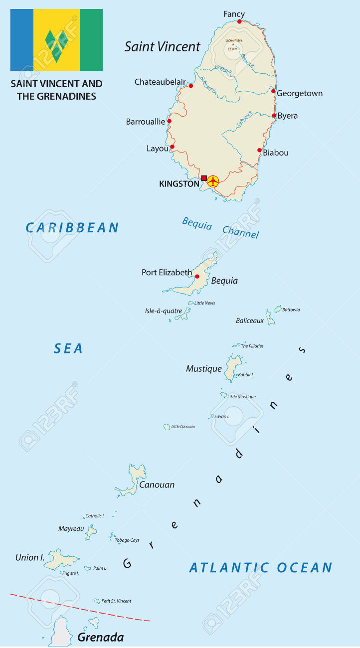 Saint vincent and the grenadines map clipart.