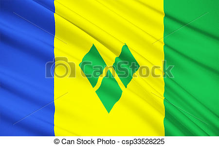 Clip Art of Flag of Saint Vincent and the Grenadines, Kingstown.