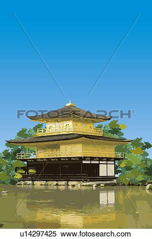 Stock Illustration of Japan, Kyoto, Kinkaku.