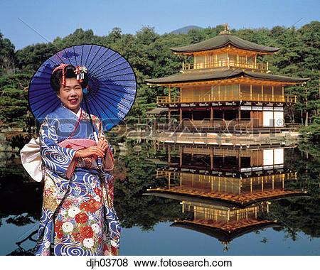 Pictures of The Golden Pavilion and Girl in Kimono in Kinkakuji.