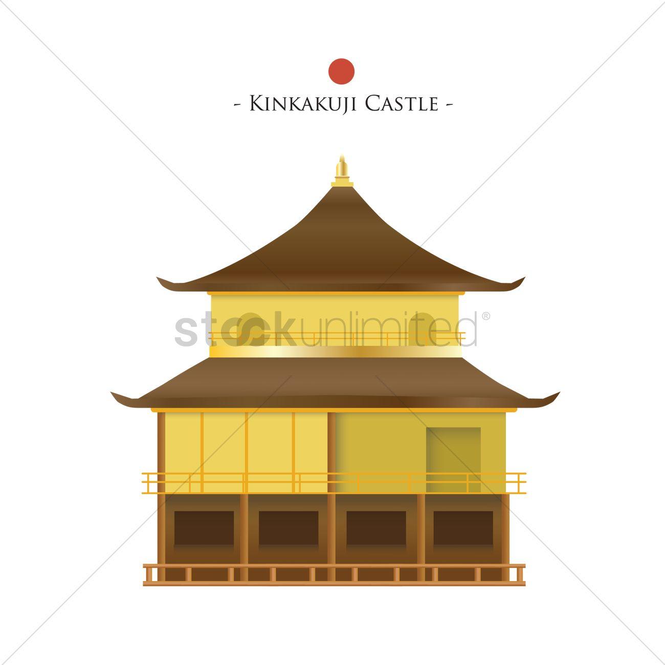 Kinkakuji castle Vector Image.