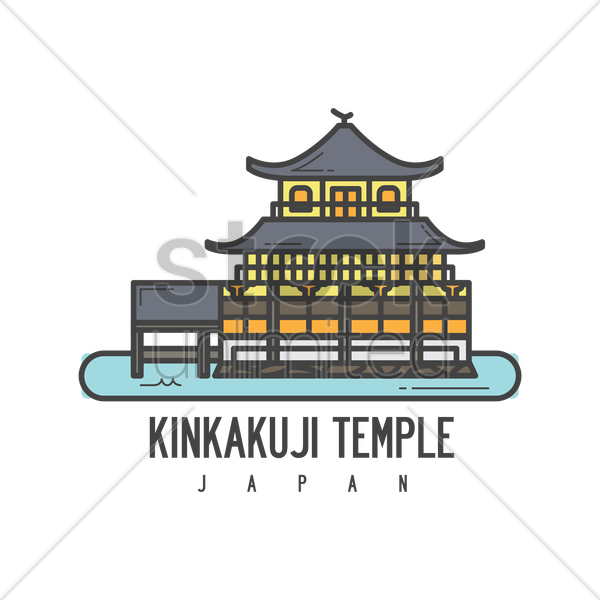 Kinkakuji temple Vector Image.