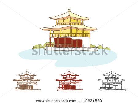 Sketch Kinkakuji Castle Stock Illustration 110624579.