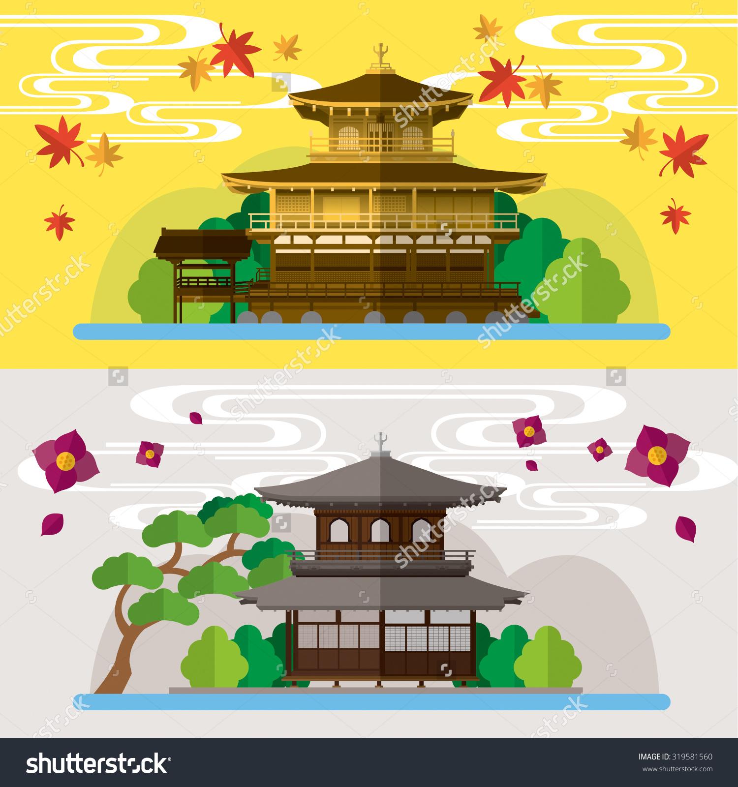 Kinkakuji Golden Pavilionand Ginkakuji Kyoto Japan Stock Vector.
