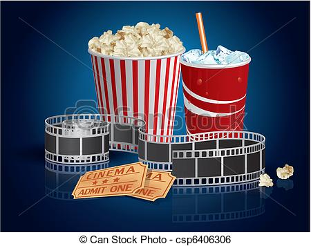Clip Art Vector of Popcorn, drink and filmstrip csp6406306.
