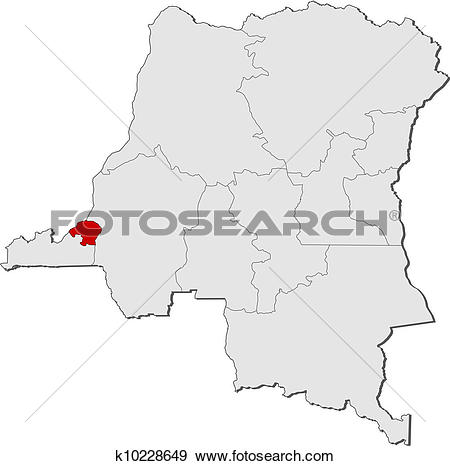 Clip Art of Map of Democratic Republic of the Congo, Kinshasa.