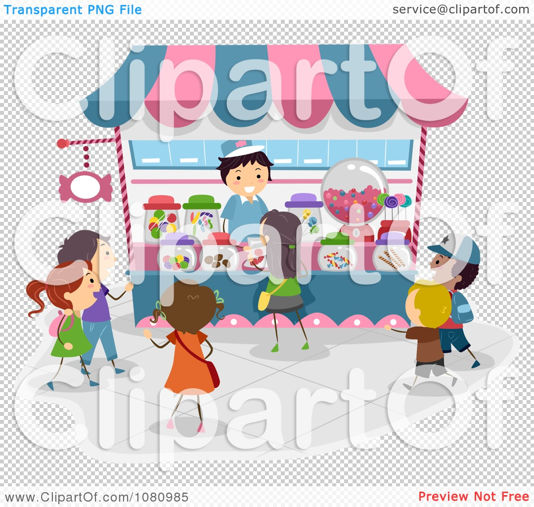 Clipart Stick Kids Lining Up At A Candy Kiosk.