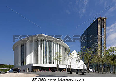 Stock Photo of Philharmonic hall and European Centre at the.