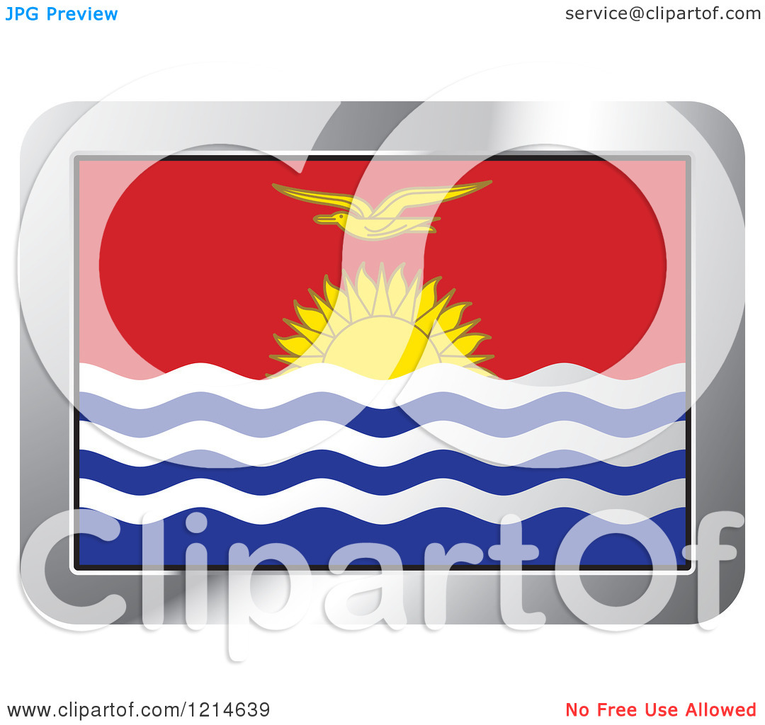 Clipart of a Kiribati Flag and Silver Frame Icon.