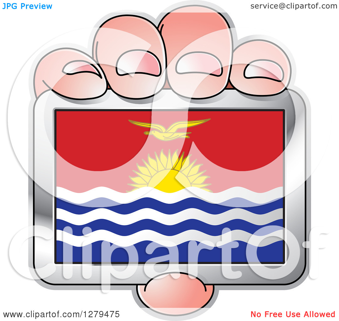 Clipart of a Caucasian Hand Holding a Kiribati Flag.