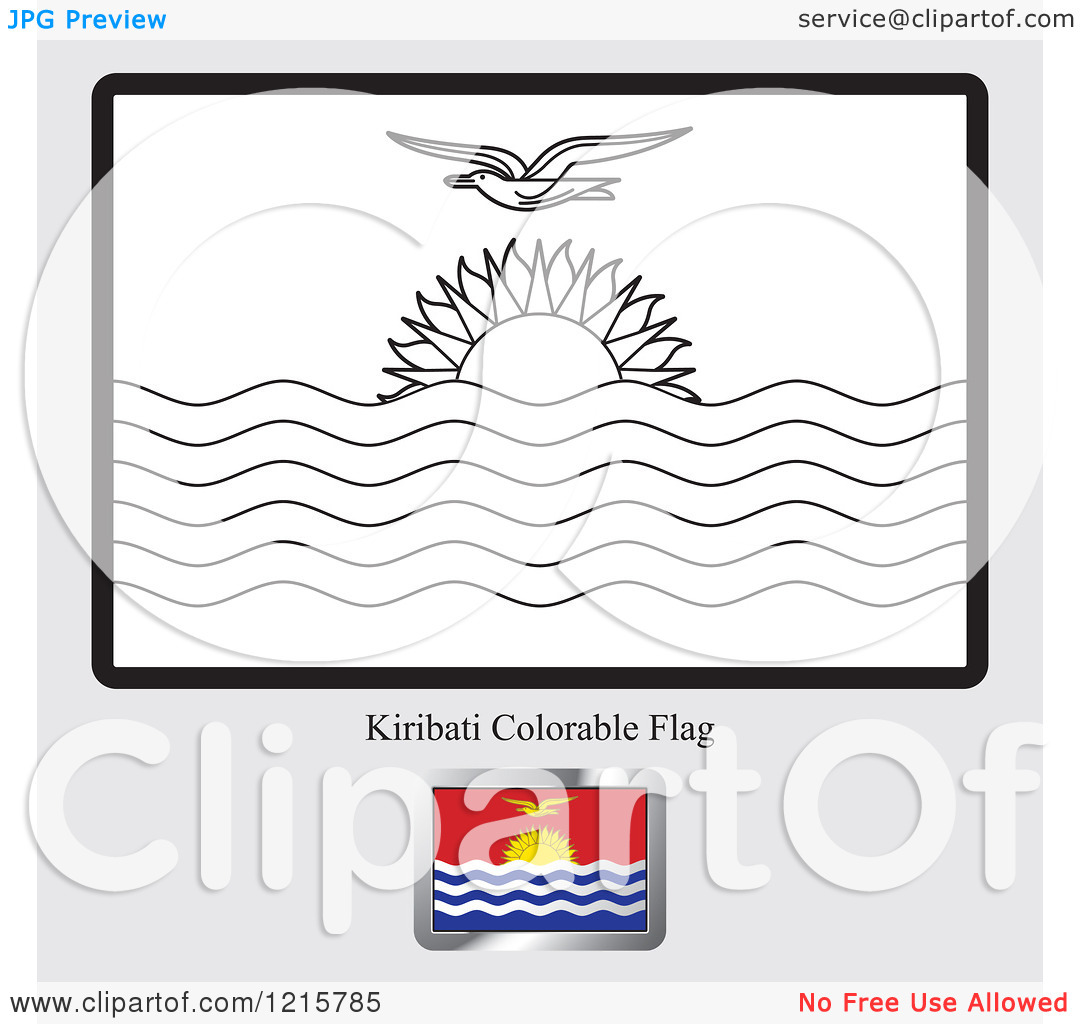 Clipart of a Coloring Page and Sample for a Kiribati Flag.