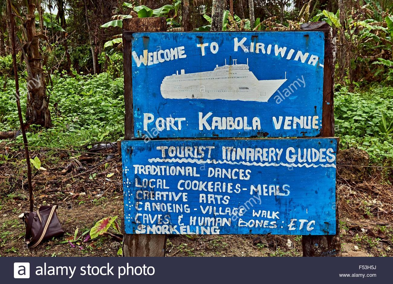 "Welcome to Kiriwina"" Port Kaibola Kiriwina Island PNG Hand painted."