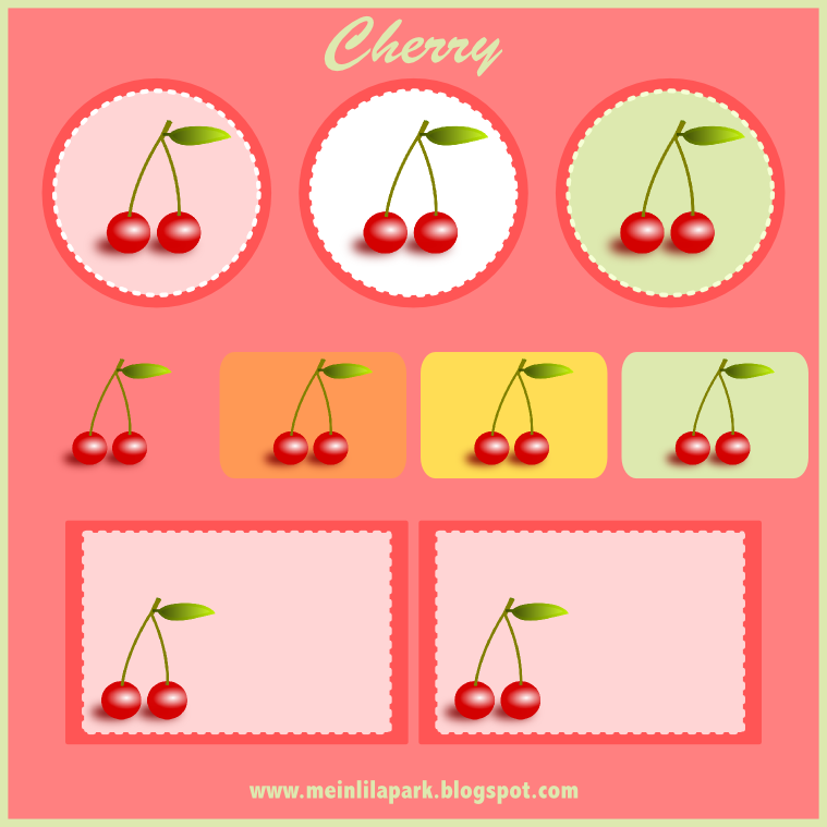 free digital cherry scrapbooking embellishment and printable tags.