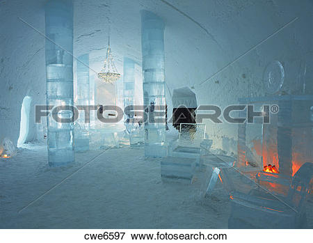 Picture of Lobby of Ice Hotel at Jukkasjarvi near Kiruna in Sweden.
