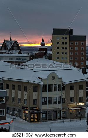 Picture of Kiruna city centre snow.
