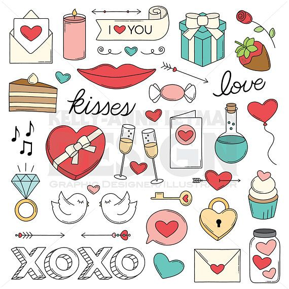Love clipart, Valentine\'s Doodle Clip Art Set, Trendy Retro.