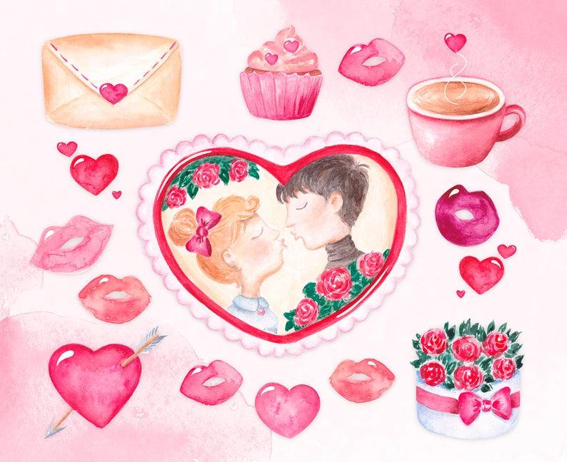 Love clipart Valentine\'s day clipart Watercolor digital clip.