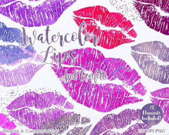 WATERCOLOR LIPS Clip Art Commercial Use Clipart 24 by.