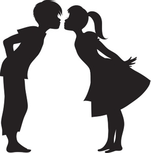 First Kiss Clipart Image: Silhouette of a First Kiss.