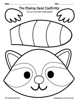 Kissing hand raccoon clipart clipground for Kiss mask template