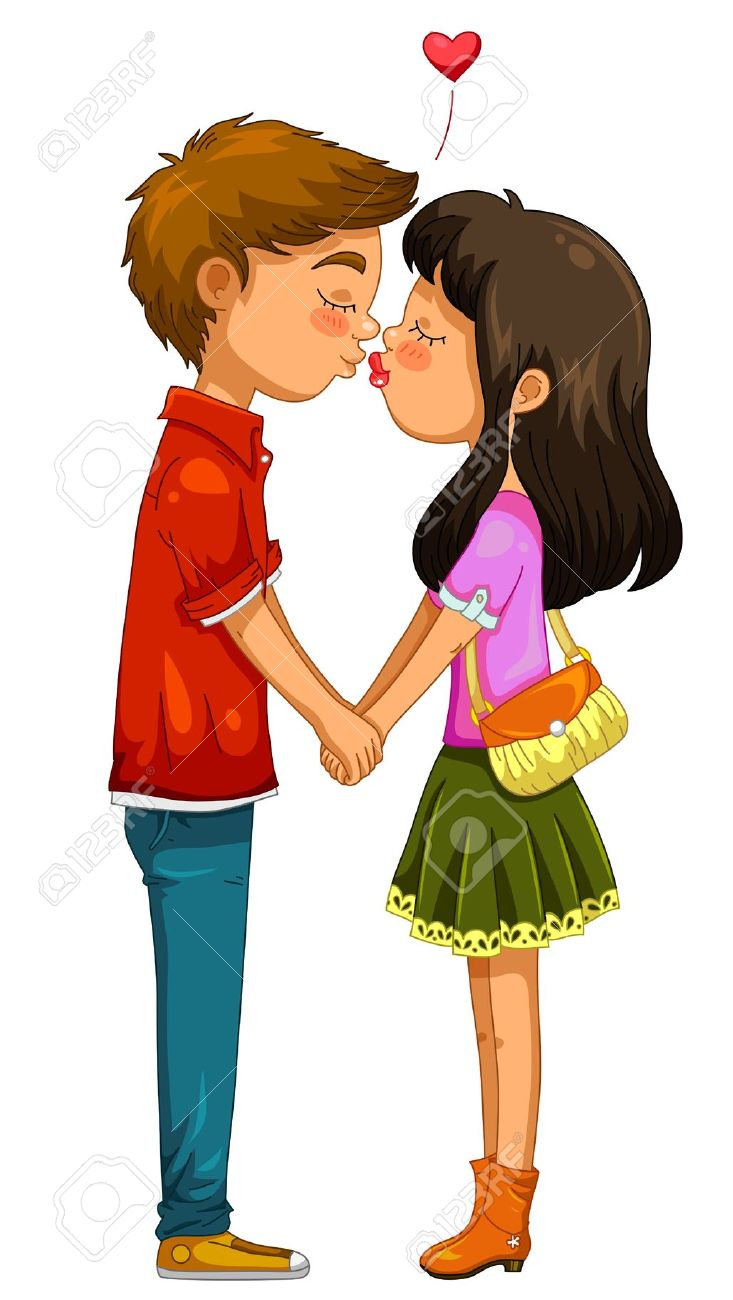 Boy And Girl Holding Hands And Kissing Royalty Free Cliparts.