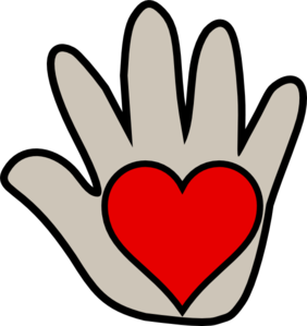 The kissing hand clipart black and white.