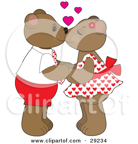 Clipart Illustration of a Teddy Bear Couple Holding Hands And.