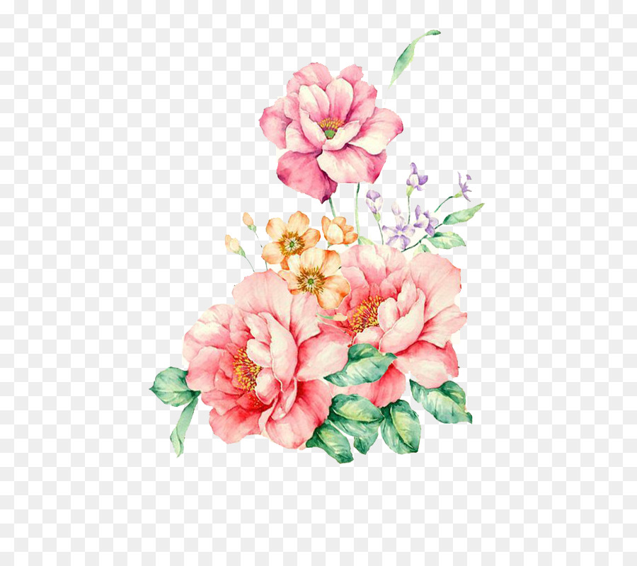 Watercolor Pink Flowers png download.