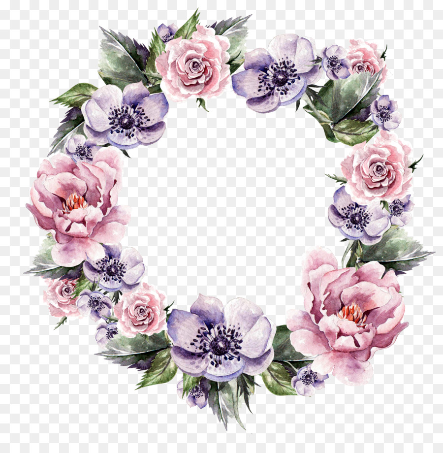 Watercolor Flower Wreath png download.