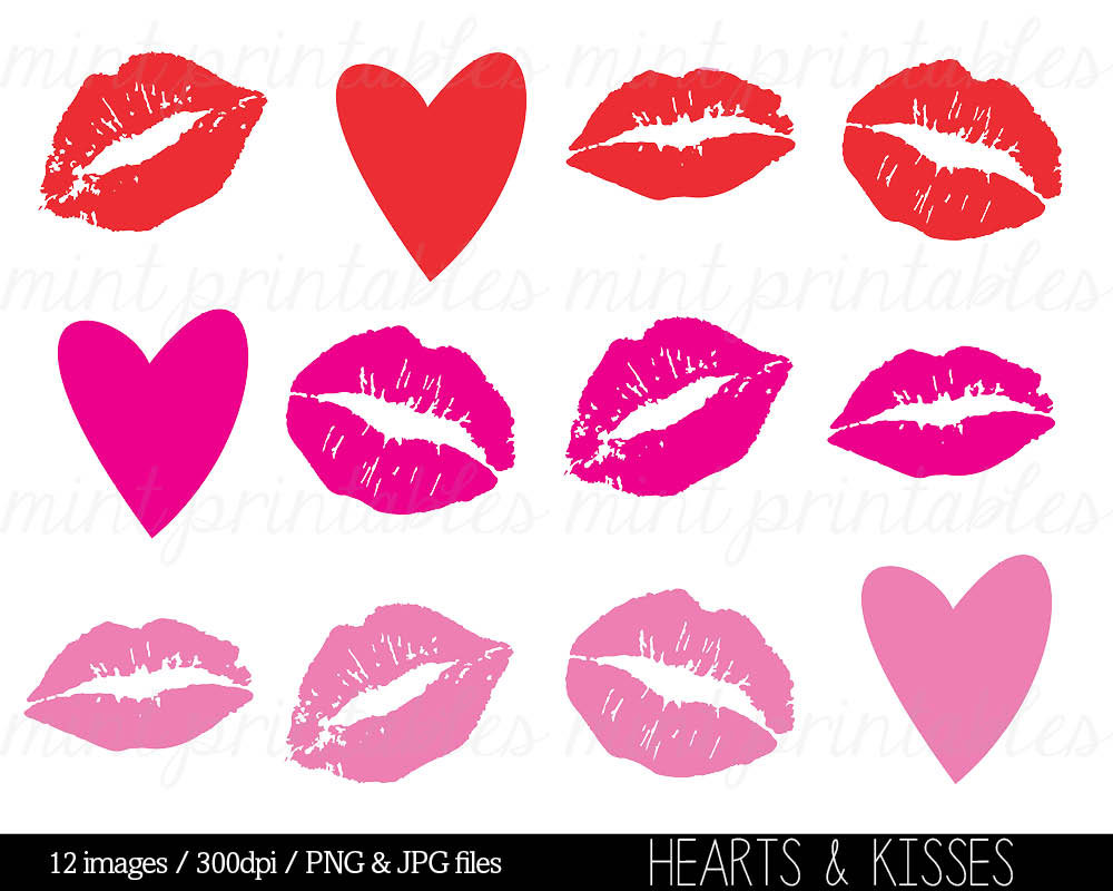Kisses Clipart Clip Art Heart Clipart Hearts by mintprintables.