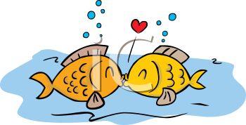 Cute Kissing Fish Clipart.