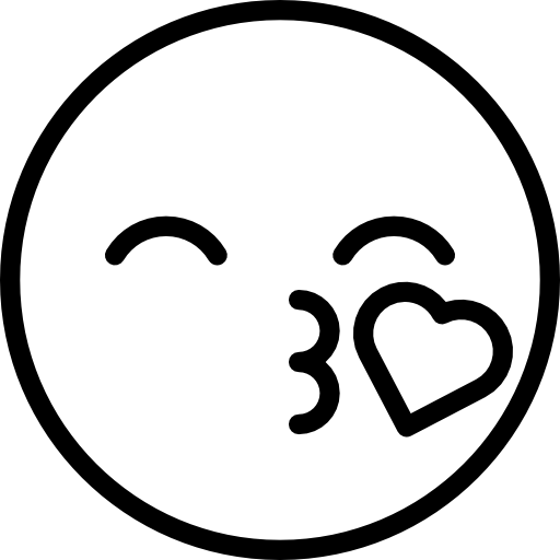 Kissy Face Emoji Coloring Pages.