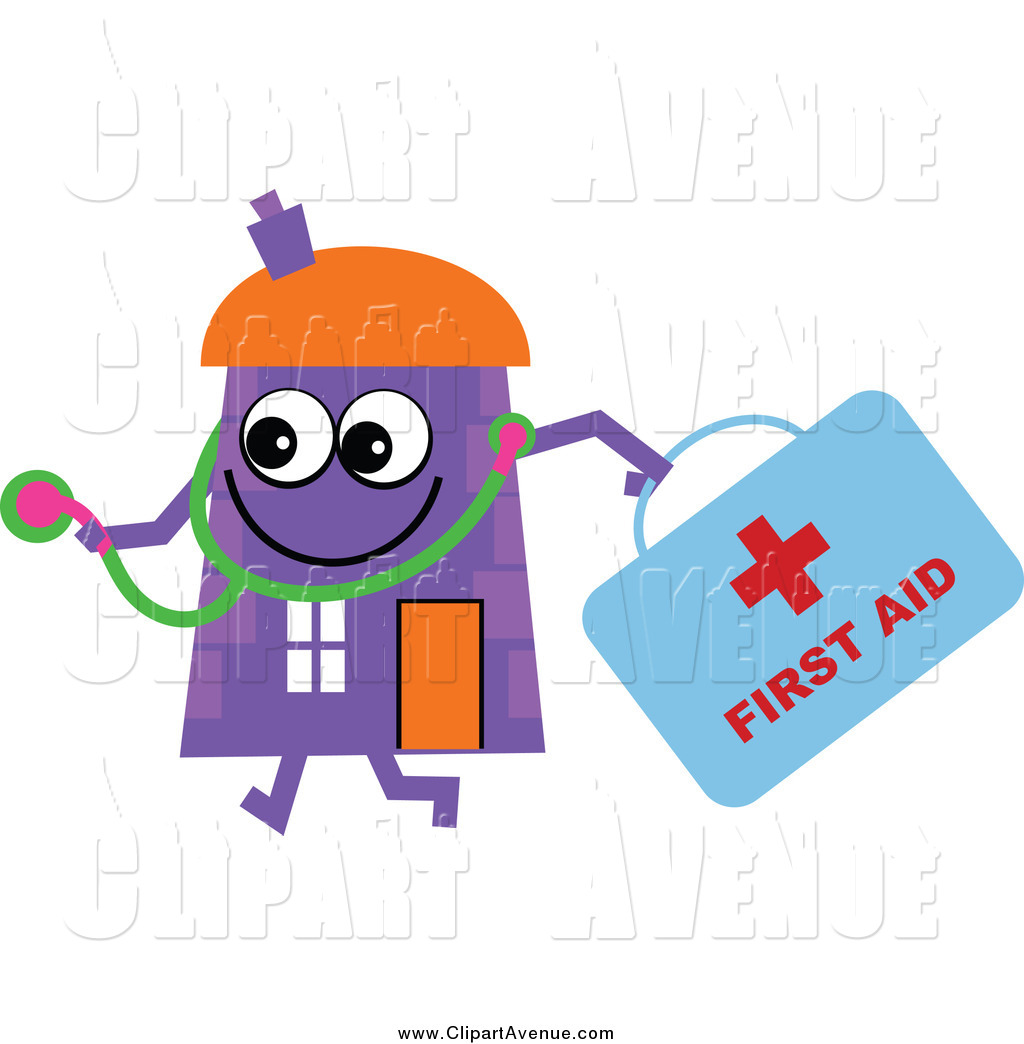 Avenue Clipart of a Purple House Character Doctor with a.