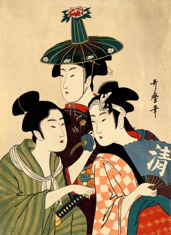 Three young men or women Kitagawa Utamaro FINE ART by ArtPink.