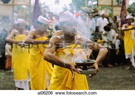 Stock Images of Indonesia, Bali, Dancers performing sacred dance.