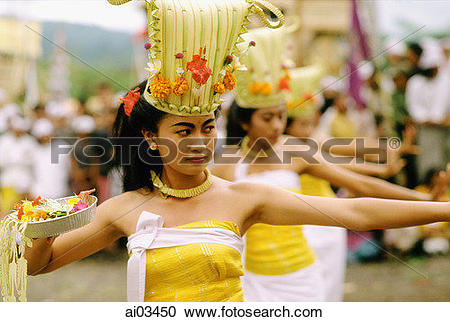 Stock Photography of Indonesia, Bali, Kintamani, Performers during.