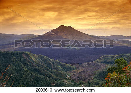 Stock Photography of Indonesia, Bali, View Of Kintamani Volcano At.