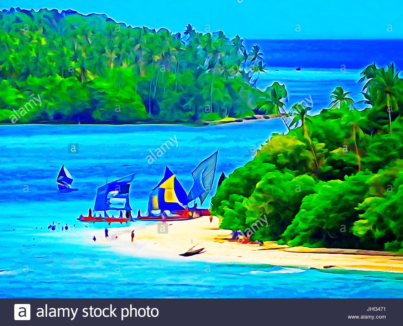 Sailboats at Kitava Island, Papua New Guinea Stock Photo: 148486661.