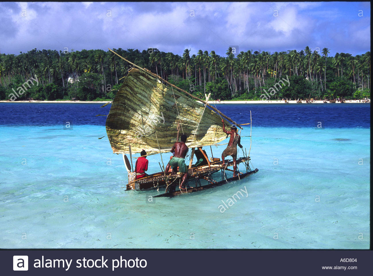 Sailing canoe Kitava Trobriand islands Papua New Guinea Stock Photo.