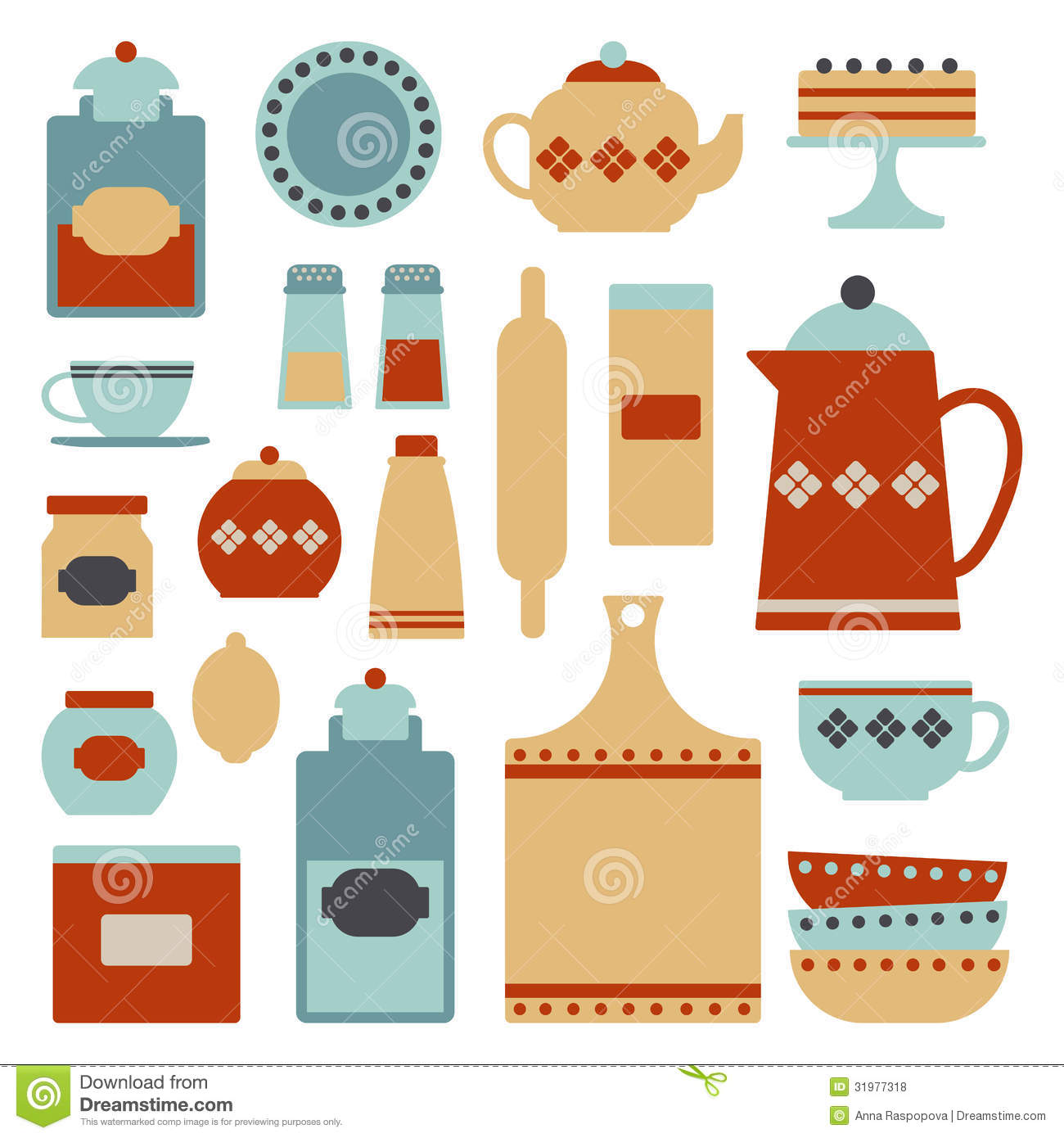 Kitchen items clipart.