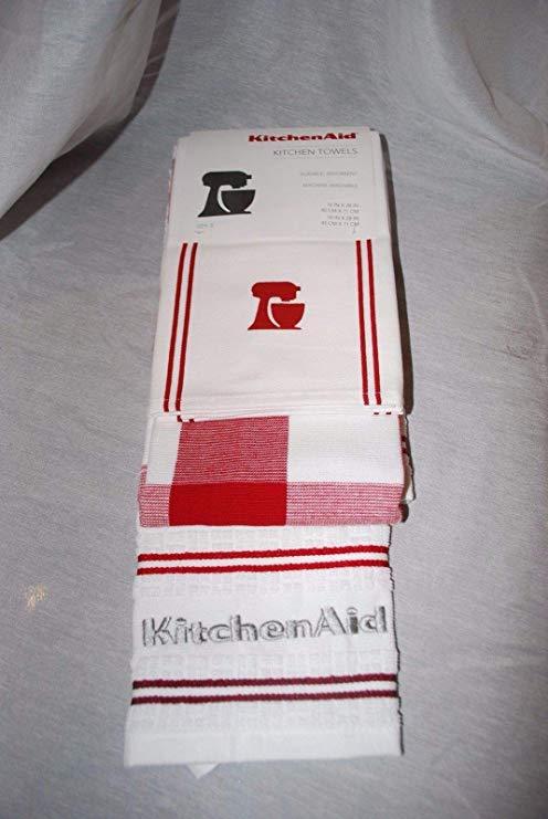 Amazon.com: KitchenAid Kitchen Towel Set of 3 Red White.