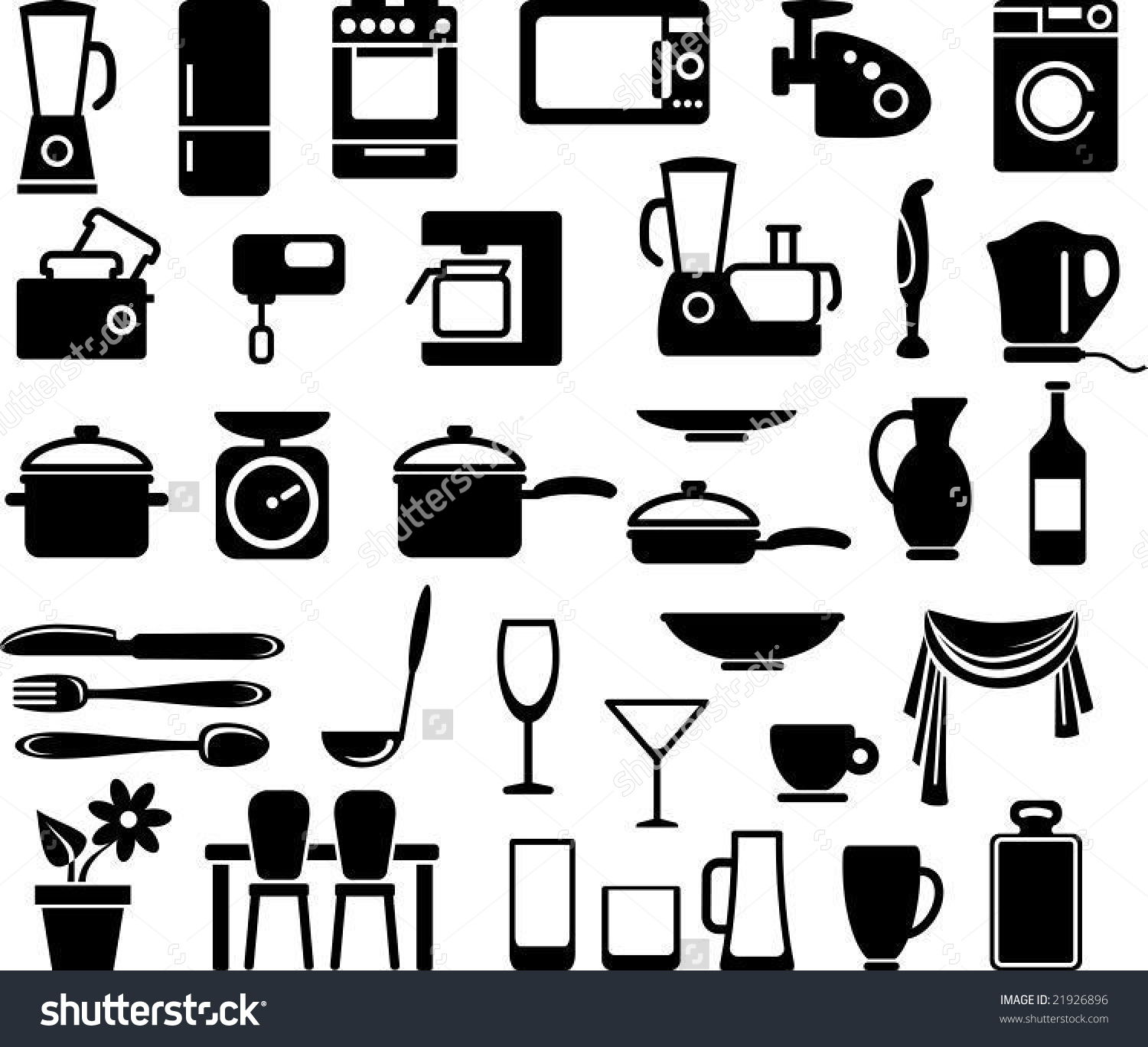 Kitchen Ware Home Appliances Icon Set Stock Vector 21926896.