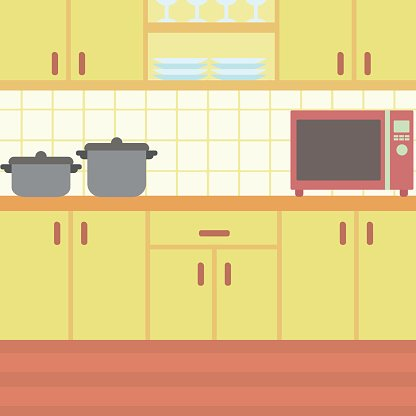 Background of kitchen with kitchenware Clipart Image.